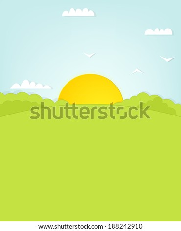 sunrise over the hill - stock vector