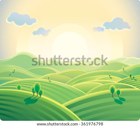 Sunrise over the hills. Natural landscape. - stock vector