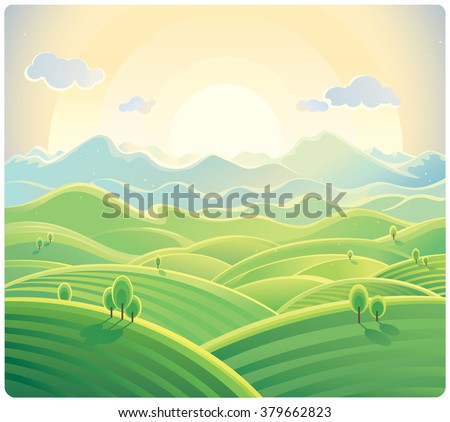 Sunrise over the mountains and hills, natural landscape.