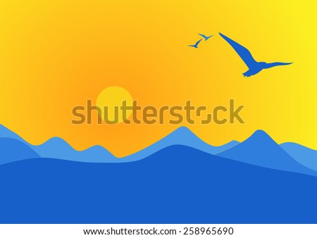 Sunrise over the mountains. Birds fly free in the early morning mountain air. - stock vector