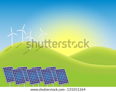 Sunrise over windmills and photovoltaic power plant in countryside. Fully editable vector illustration. - stock vector