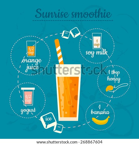Sunrise smoothie recipe. Menu element for cafe or restaurant with energetic fresh drink. Fresh juice for healthy life. - stock vector