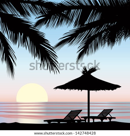 Sunrise view at resort. Relaxing holiday landscape. Two chaise longue and parasol on beach with palm tree.  - stock vector