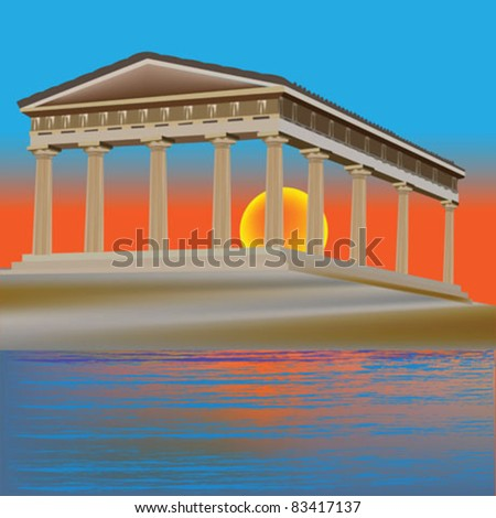 Sunrise with old temple - stock vector