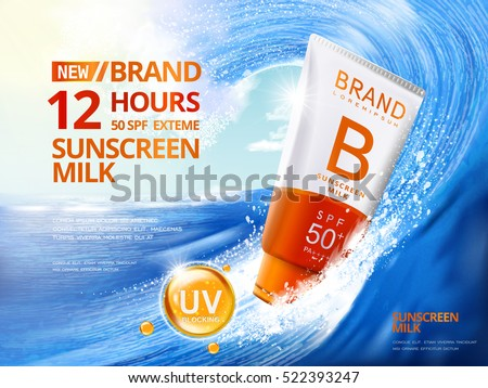 Sunscreen ads template, sunblock plastic tube riding the wave, big wave surfing, 3d illustration for ads or magazine