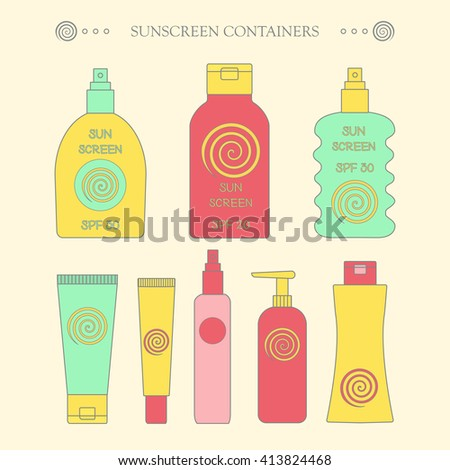Sunscreen bottle set. vector illustration of plastic container, cream packaging for sun screen lotion, skin cancer protection, spray spf icon - stock vector