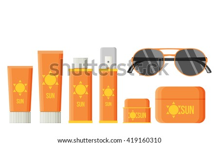 Sunscreen Care Sun Protection Cosmetics vector illustration. cream icon set in flat-style isolation on a white background - stock vector