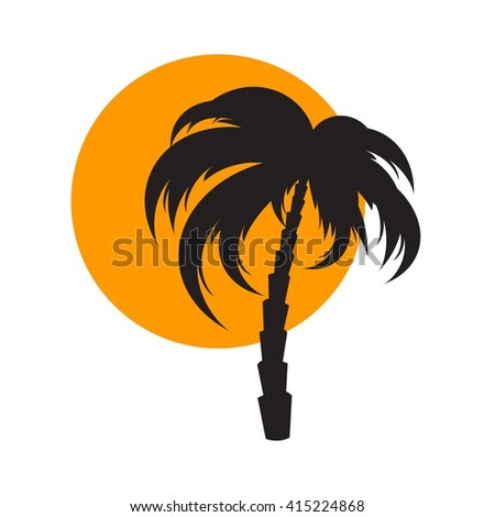 Sunset and palm tree - stock vector
