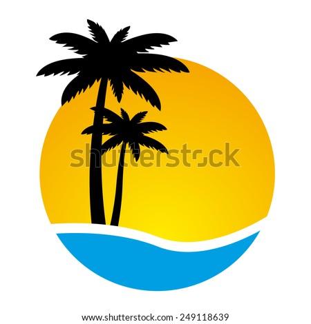 sunset palm trees on island vector stock vector 249118639 shutterstock rh shutterstock com island vector map island vector icon