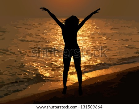 Sunset at Sea. freedom. Vector - stock vector