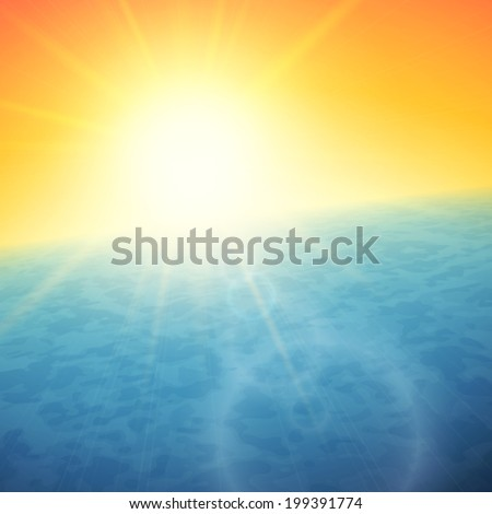 Sunset at sea, horizon with summer sun, blue ocean and clear orange sky, vector background illustration - stock vector
