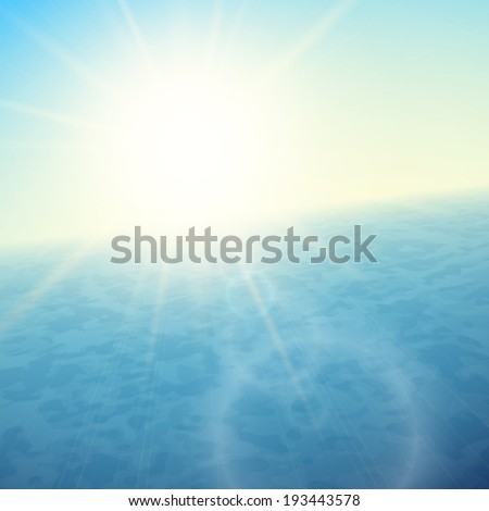 Sunset at sea, horizon with summer sun, blue ocean and clear sky, vector background illustration