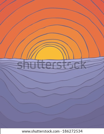 sunset at sea vector illustration, hand drawn - stock vector