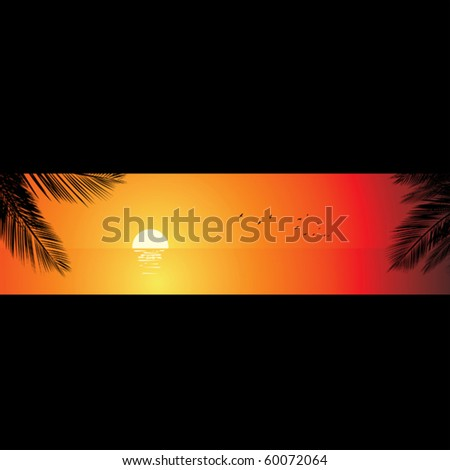 Sunset beach. - stock vector