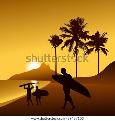 sunset beach illustration - stock vector