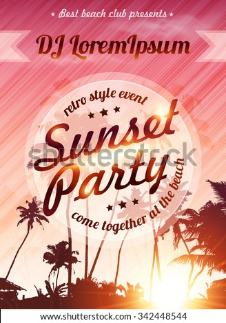 Sunset beach party vector pink poster template - stock vector