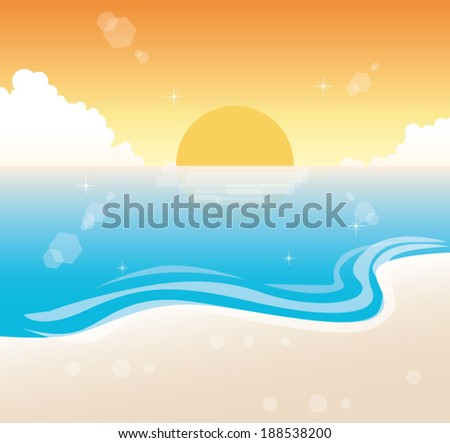 sunset beach vector - stock vector
