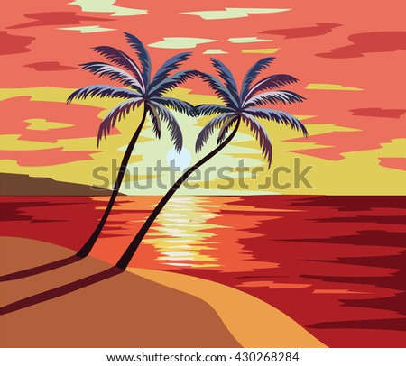 Sunset Beach Vector illustration. Summer Sunset seaside with palm trees Vector