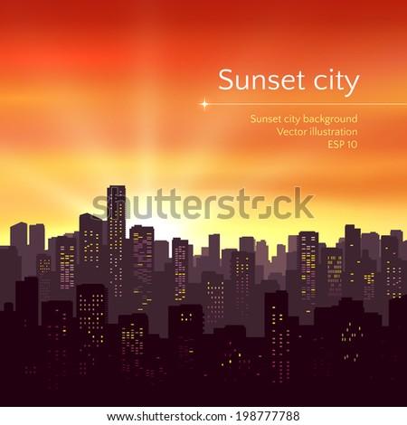 Sunset city landscape. Vector illustration. - stock vector