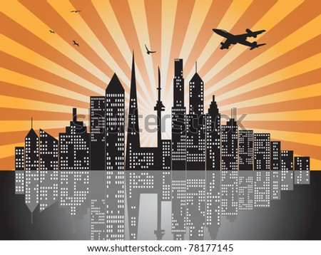sunset city skylines - stock vector