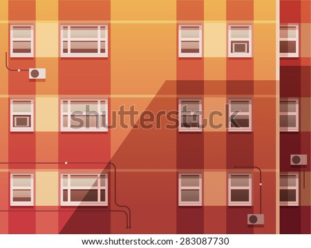Sunset city.The wall of the building. Vector illustration. - stock vector