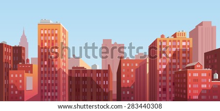 Sunset cityscape. Vector illustration. - stock vector