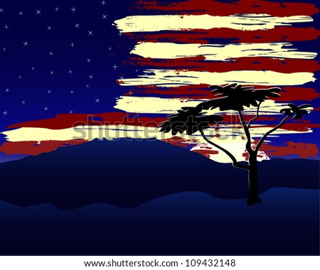 sunset highlighting a star spangled banner cloud formation and starry night sky - stock vector