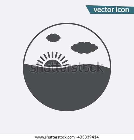 Sunset icon vector sign - stock vector