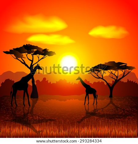 Sunset in african savannah photo realistic vector background - stock vector