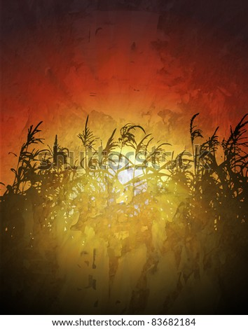sunset in cornfield vector background - stock vector