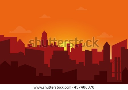 Sunset in the city. Cityscape silhouette sunrise vector illustration