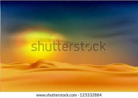 sunset in the desert - stock vector