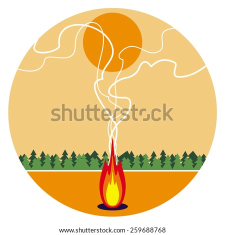 Sunset landscape with fire - stock vector