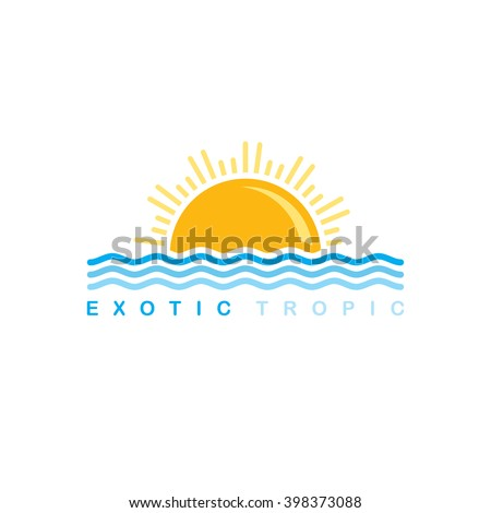 sunset logo sign - stock vector