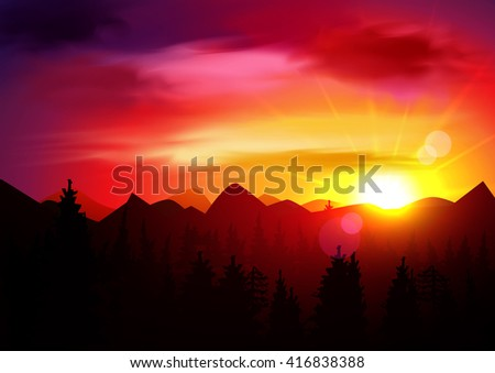 Sunset Mountains Landscape. Sunrise Sky. Nature Background Template. Vector Panorama. The dawn sun over the mountains in the background and trees in the foreground.