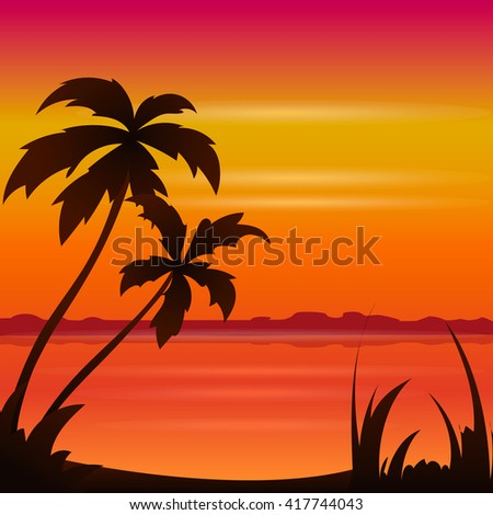 Sunset ocean summer beach with tropical palm tree over horizon summer view