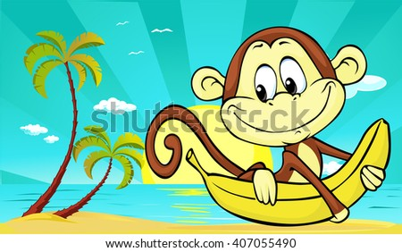 sunset on beach with palm and cute monkey and banana - vector illustration - stock vector