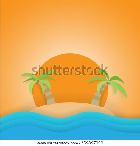 Sunset on the beach - stock vector