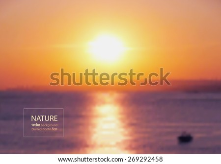 Sunset on the sea. Blurred photo background. Vector illustration - stock vector
