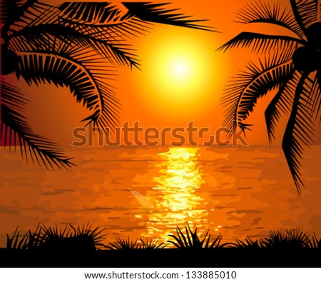 Sunset on the sea with palm trees - stock vector