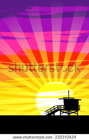 Sunset on Venice Beach, Los Angeles, California. EPS10 Vector - stock vector