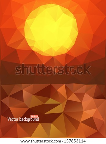Sunset over the ocean. Vector abstract polygonal background - stock vector