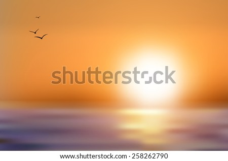 Sunset over the sea level and flying birds - vector illustration - stock vector