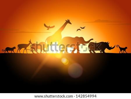 Sunset Safari - Wildlife silhouetted against a sunset - vector illustration. - stock vector