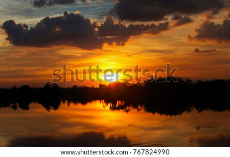 Sunset ship in sunset lake landscape	0