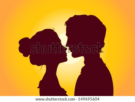 Sunset silhouettes of kissing couple - stock vector