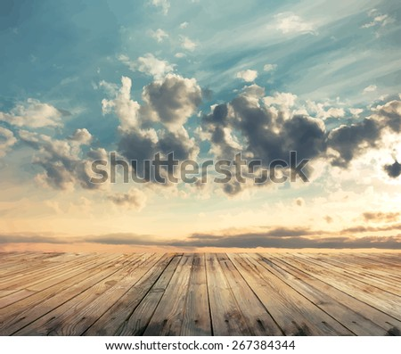 sunset sky and wood floor, vector - stock vector