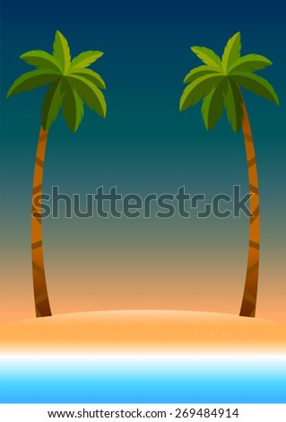 sunset sky background with beach sea coconut tree , vintage poster decorate summer on the beach  - stock vector