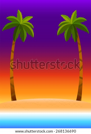 sunset sky background with beach sea coconut trees ,colorful poster  summer tropical on the beach - stock vector