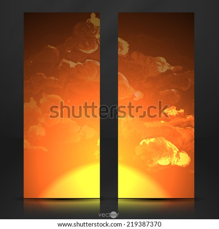 Sunset, Sunrise With Clouds. Painting Picture. Vector Illustration. Eps 10 - stock vector